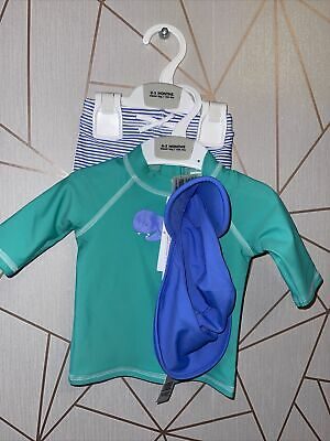 £9.99 • Buy Q37 Marks & Spencer M&S Baby Boys Swim Top  And Sun Smart Hat Set 0-3 Months