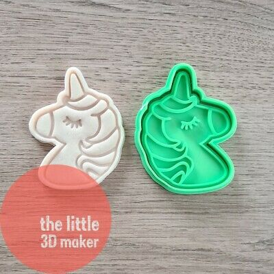 AU10.95 • Buy Unicorn Cookie Cutter Stamp Fondant Embosser 3D Printed