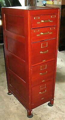 $1150 • Buy RARE Antique 1900 MAHOGANY 5 DRAWER FILE FILING CABINET Finished On ALL SIDES