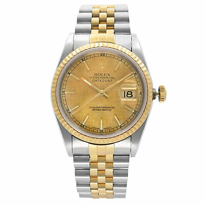 $ CDN7277.69 • Buy Rolex Datejust 36mm No Holes 18k Gold Steel Champagne Dial Mens Watch 16233