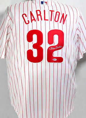 $149 • Buy Steve Carlton Autographed Phillies Pinstripe Majestic Jersey- Beckett Auth *2