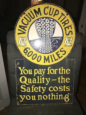 $ CDN1234.40 • Buy Vacuum Cup Tires Double Sided Porcelain Sign