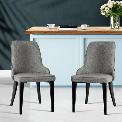 AU160.92 • Buy Artiss Set Of 2 Fabric Dining Chairs - Grey