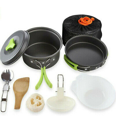 £18.99 • Buy 10Pcs/Set Portable Camping Cookware Kit Outdoor Picnic Hiking Cooking Equipment