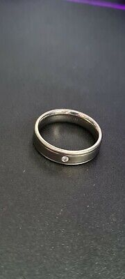 Mens Titanium Wedding Ring With Small Stone • 5£