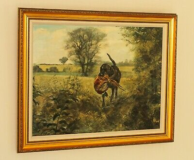 £1695 • Buy HENRY WILKINSON Large Oil Painting Black Labrador With A Pheasant In A Landscape