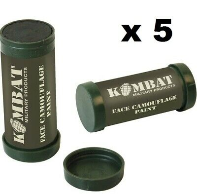KombatUK Army Military 2 Colour Camo Camouflage Make-Up Face Paint Cream -5 Pack • 9.95£
