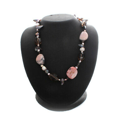 $ CDN37.49 • Buy HSN Silvertone Freshwater Pearl, Smoky Quartz And Rose Agate 17+3  Necklace