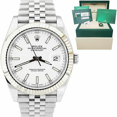 $ CDN12688.15 • Buy 2019 Rolex DateJust 41mm White Index Fluted Stainless Steel Jubilee Watch 126334