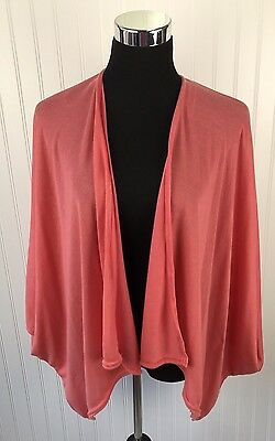 AU2.57 • Buy Faded Glory ~ Womens Kimono Wrap Knit Sweater ~ One Size Peach Open Cover Top