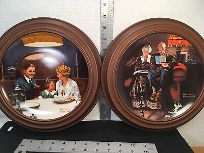 $ CDN24.90 • Buy NORMAN ROCKWELL COLLECTOR'S PLATES Birthday Wish & Evening's Ease EUC W/ Frames