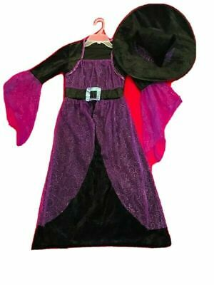 $ CDN30 • Buy Halloween Witch Costume Black Purple Fit Girl Size 10-12 With Hat