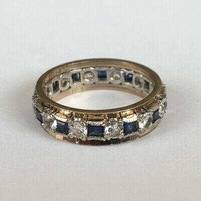 £145 • Buy Vintage 9ct Gold Sapphire & Spinel Eternity Ring 3.80g Size N.5 Hallmarked 1966