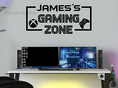 £7.61 • Buy Gaming Zone Personalised Wall Stickers Decals XB Gamer Controller Wall Art GZB1