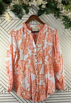 $ CDN34.99 • Buy Anthropologie Maeve Women Pink White Floral Button Front Roll Sleeve Blouse M