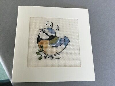 £3.50 • Buy Handmade Cross Stitch Birthday Card - Bluetit - Cream