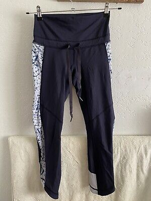 $ CDN0.31 • Buy Lululemon High Rise Drawstring Leggings Sz 8 Blue Tie Dye Pattern Black Logo