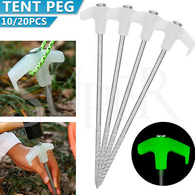 AU16.59 • Buy 10/20PCs Tent Pegs Heavy Duty Screw Steel In Ground Camping Stakes Outdoor Nail