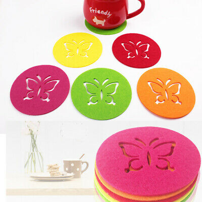 £2.49 • Buy 6pc Butterfly Felt Round Coasters Coaster Set Colorful Cup Drinks Holder Mat