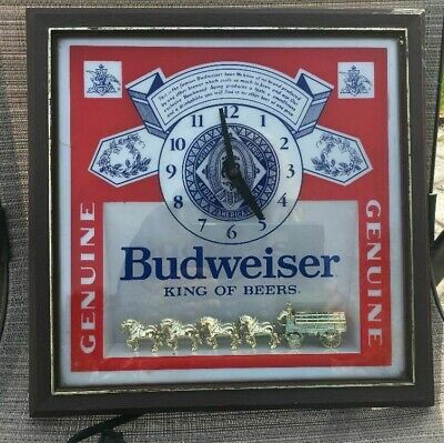 $ CDN62.49 • Buy Budweiser King Of Beers Lighted Sign With Gold Clydsdales And Clock