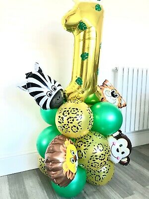 £5.99 • Buy DIY Jungle Balloons 1st Birthday Animal Theme Wild One Banner Party Decorations