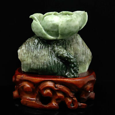 $ CDN0.07 • Buy Chinese Exquisite Figurines  Hand-carved Lotus Dushan Jade Statue AP004