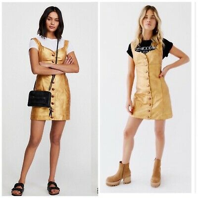 $60 • Buy Free People Gold Mini Leather Button Down Dress Size 0
