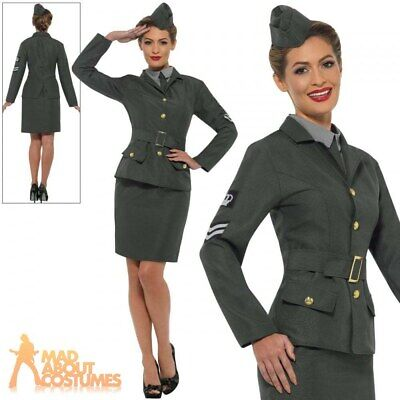 £22.99 • Buy WW2 Army Girl Costume Ladies 1940s Fancy Dress Soldier Uniform Womens Outfit