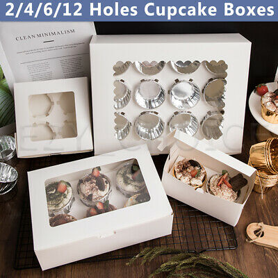 AU10.95 • Buy Cupcake Box 2/4/6/12 Holes Clear Window Muffin Wedding Party Gift Cup Cake Boxes