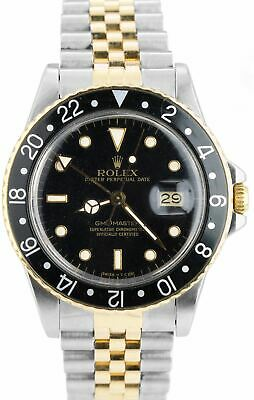 AU10938.59 • Buy Vintage 1987 Rolex GMT-Master Black GLOSSY 16753 18K Two Tone Jubilee Watch