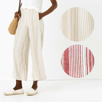 £13.95 • Buy Ex M&S Linen Striped Wide Leg Trousers Red Natural Size 6 - 24