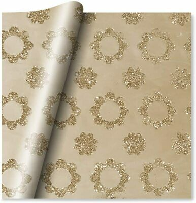 £3.99 • Buy 2 Sheets Of Premium Quality Luxury Gift Wrapping Paper - Floral Gold Foil & Glit