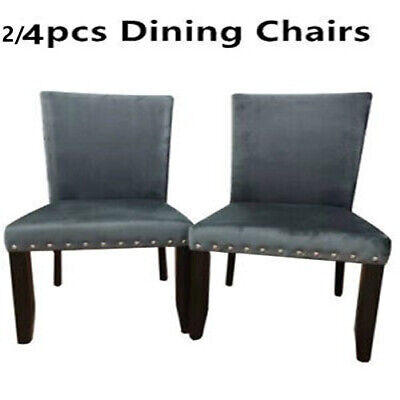 AU140.17 • Buy 2/4pcs Retro PU Leather Padded Dining Chairs Home Office Cafe Lounge Seat Chair