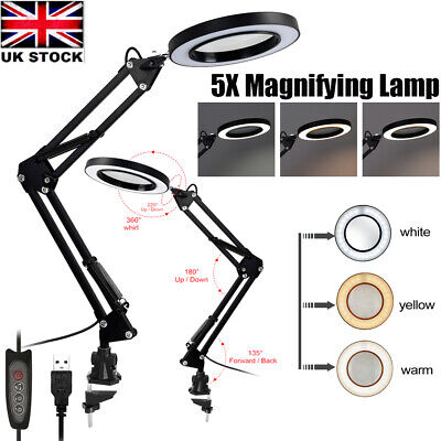 £17.51 • Buy LED Desk Lamp 5X Magnifier Foldable Light Stand Clamp Beauty Magnifying