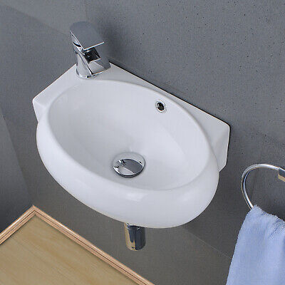 £69.69 • Buy Compact Bathroom Cloakroom Basin Wash Sink Wall Mounted With Chrome Taps & Waste