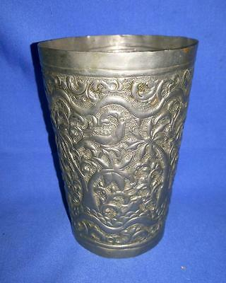 £42.99 • Buy Antique Old Collectible Hand Embossed And Carved Silver Polish Brass Milk Glass