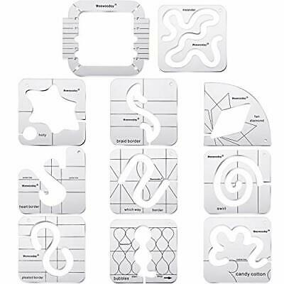 $42 • Buy 11 Pieces Free-Motion Quilting Template Set Sewing Machine Domestic Templates...