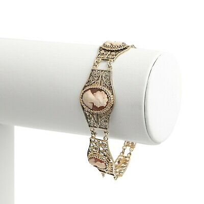 Silver Cameo Portrait Bracelet - Vintage Italian Filigree With Three Panels • 69.99£