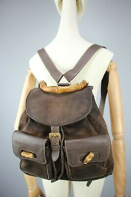 AU167.72 • Buy GUCCI GG Vintage 80s Bamboo Backpack Brown Suede & Leather  Size Medium