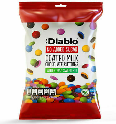 £5.49 • Buy Diablo No Added Sugar Coated Milk Chocolate Buttons 40g Pack Of 1/3/8/12/24