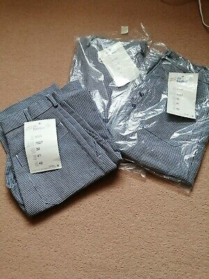 £13 • Buy  Chef Catering Blue White Checked Trousers Size 42 (3 Pairs)