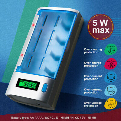 AU27.99 • Buy PALO Rechargeable LCD Battery Charger For Ni-MH Ni-CD 9V AA AAA C D SC Batteries