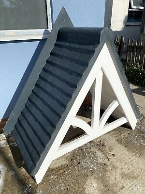 £250 • Buy GRP Front Door Canopy Porch Fibreglass Traditional Pitched Black Tile Effect