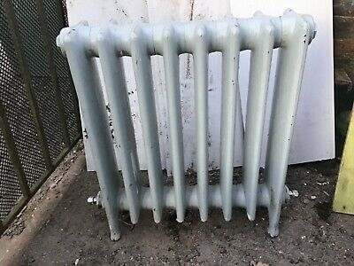"""£60 • Buy Small Victorian Cast Iron Radiator Floor Standing 22"""" Wide By 24"""" Tall On Feet"""
