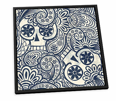 £29.99 • Buy Skull Abstract Pattern Design White CANVAS FLOATER FRAME Wall Art Square Print