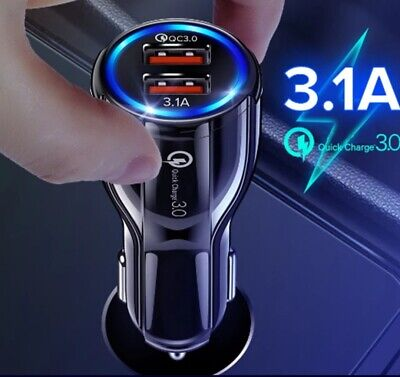 AU9.65 • Buy Fast Charge 3.0 Car Charger 2 USB Ports Power Adapter Cigarette Lighter Socket