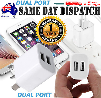AU7.50 • Buy Dual USB Wall Charger Universal 2 Port 5V 2A AC Wall Home Charger Power Adapter