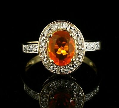 £413.55 • Buy NATURAL 1.80ctw MEXICAN FIRE OPAL & DIAMOND HALO SOLID 14K YELLOW GOLD RING