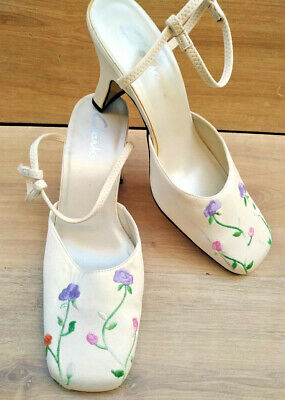 £22.98 • Buy Womens CLARKS Ivory Floral Satin Ankle Strap Court Dress Shoes Size 5 Slim Heel