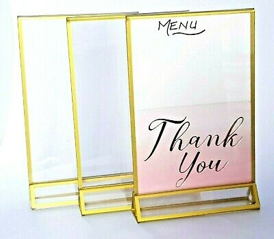 4 X Table Top Sign Acrylic Menu Gold Gilt Edged Free Standing Promotion Holders  • 8.99£